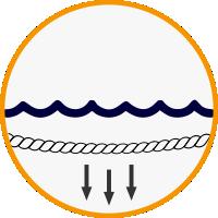 Skęstanti vandenyje virvė
